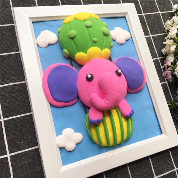 diy手工制作店分享大象旅行记粘土画作品
